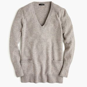 JCREW Supersoft Vneck Tunic Sweater Pockets Gray M
